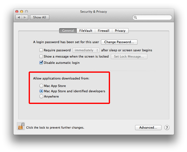 Allow Mac App Store and identified developers
