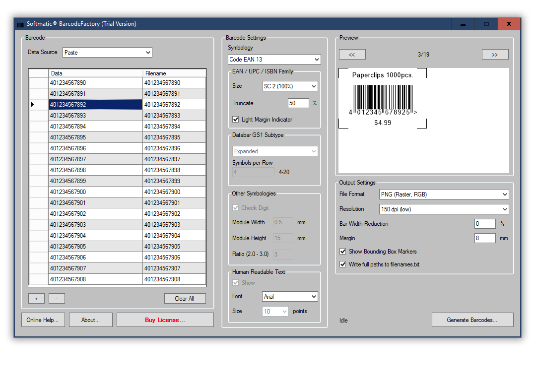 Screenshot BarcodeFactory Excel EAN Products