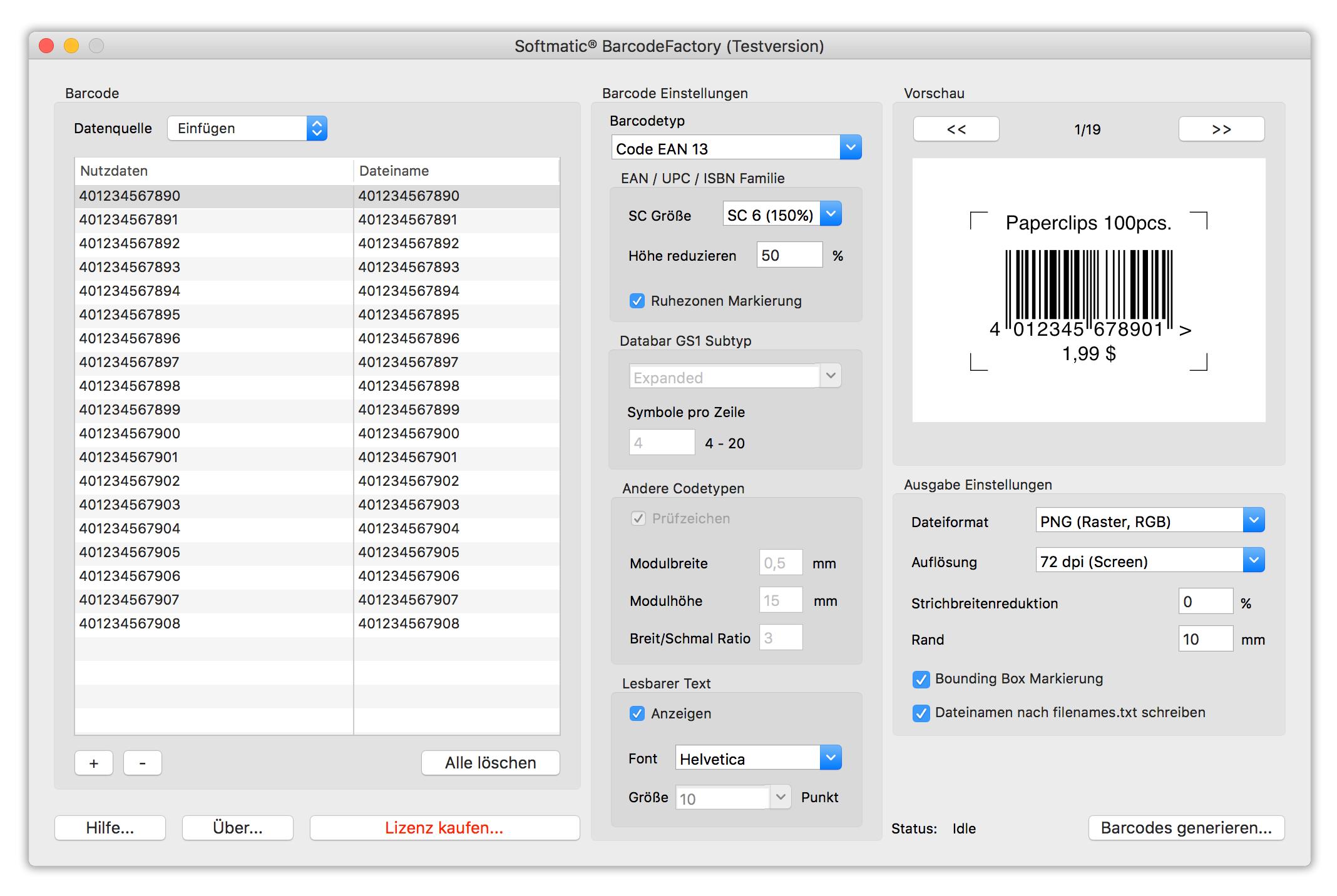 Fortlaufende Barcodes, Massenbarcodes, Automatisch Barcode ...