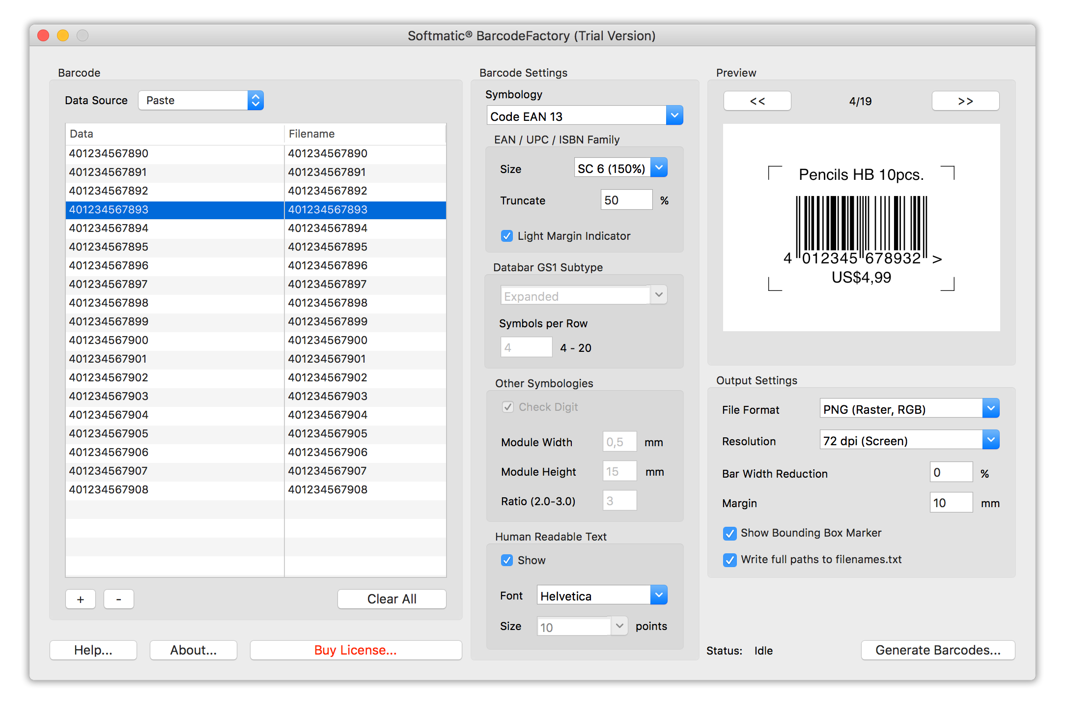 Batch Barcode Generator for Mac & PC, Serial Barcode Maker ...