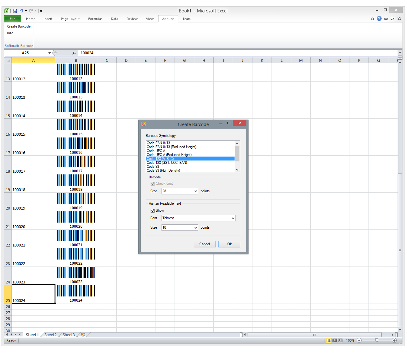 Excel Barcode Add-In