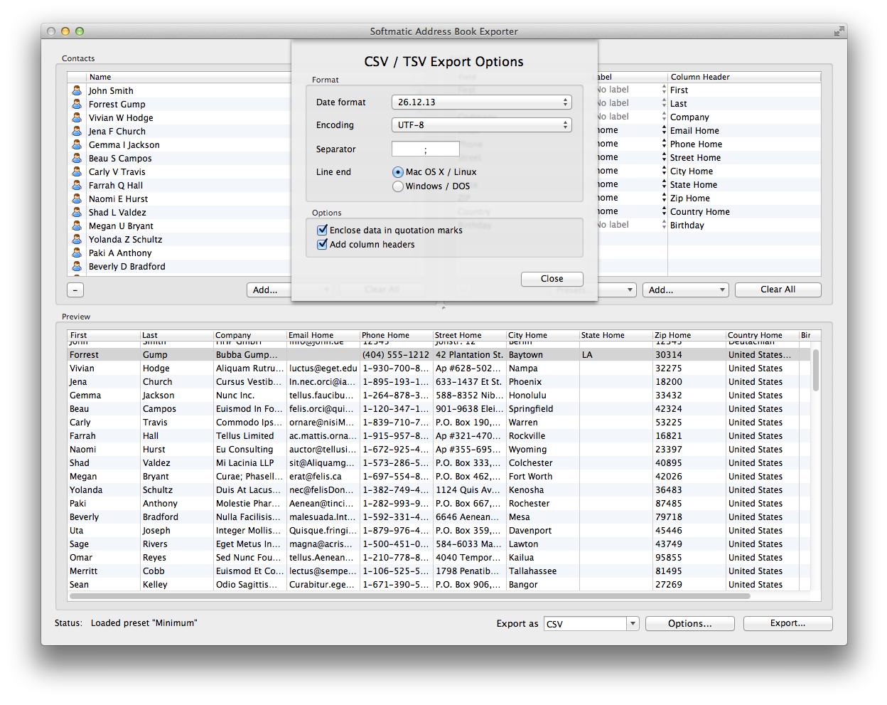Mac Address Book Contacts Exporter | Softmatic