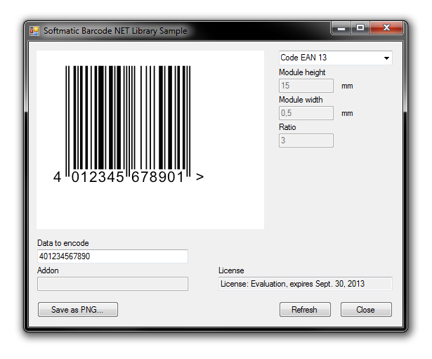 Screenshot of C# Barcode Generator