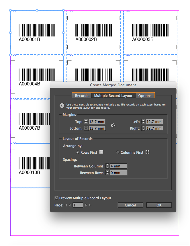 Screenshot Indesign Barcode Labels